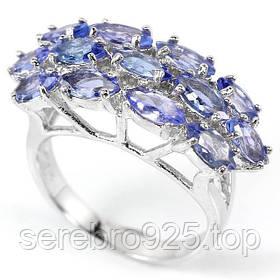 Серебряное кольцо с натуральным танзанитом 16,25 р