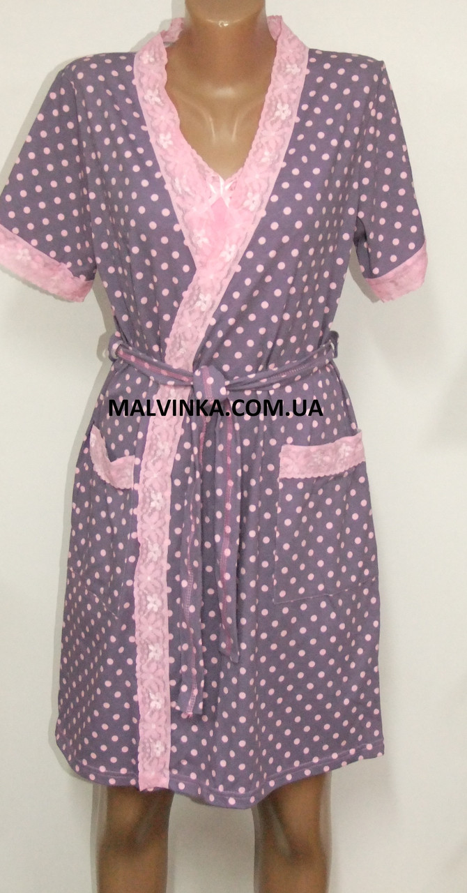 Комплект домашний  MILADI (тройка) халат,топ,шорты р M,L,XL