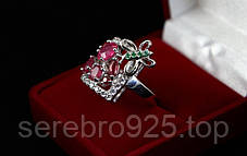 Серебряное кольцо с рубином 16,25 р, фото 3