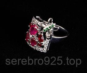 Серебряное кольцо с рубином 16,25 р