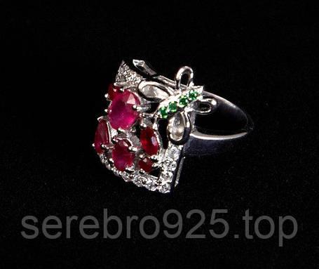 Серебряное кольцо с рубином 16,25 р, фото 2