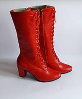 Сапожки высокие народные красные на шнурках