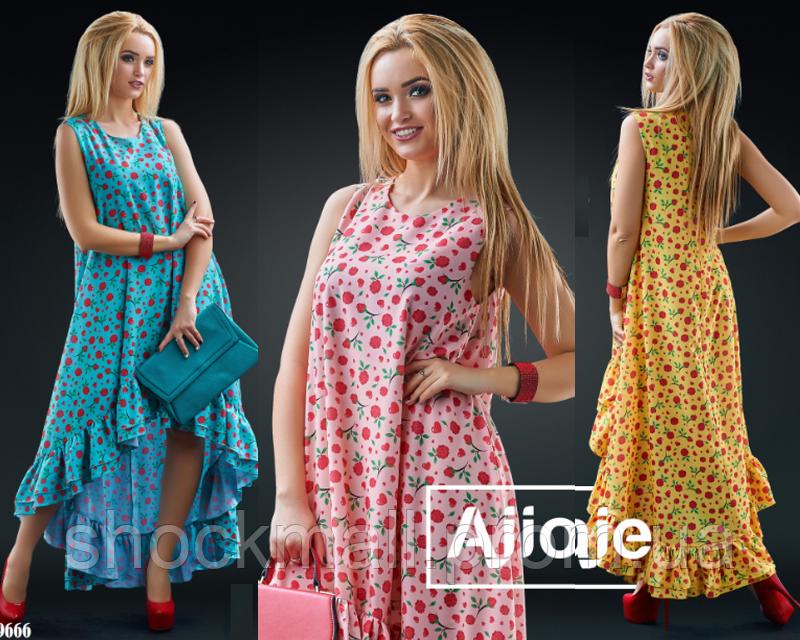 68987156c983115 Летнее платье миди свободного кроя асимметричное - Интернет магазин  ShockMall в Киеве