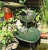 """Водный каскад """"Листья""""- декор для водоема, изготавлевыемый по оттиску живого растения."""