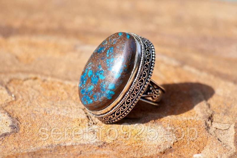 Кольцо с натуральной хризоколлой в серебре