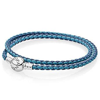 Двойной кожаный браслет синего и голубого цвета в стиле Pandora