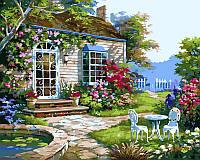 Картина по номерам на холсте Домик в цветах худ. Сунг, Ким (VP229) 40 х 50 см