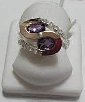 Кольцо серебряное Соломия с золотом и сиреневым камнем, фото 1