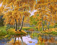 Картина-раскраска Осенний день худ. Цыганов, Виктор (VP163) 40 х 50 см