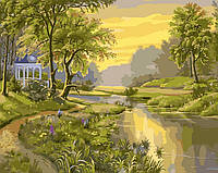 Раскраска по номерам Беседка у реки худ. Цыганов, Виктор (VP171) 40 х 50 см