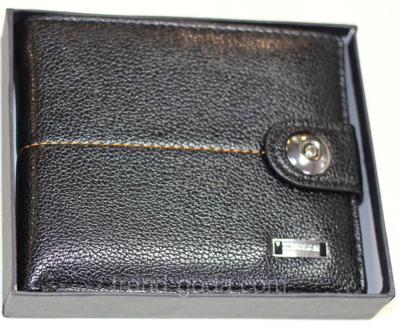 Бумажник мужской, черный с оранжевой строчкой