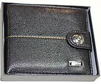 Бумажник мужской, черный с оранжевой строчкой, фото 1