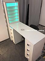 Маникюрный стол с бактерицидной лампой, стол для маникюра с полкой с подсветкой. Модель V215 белый