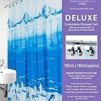 Шторки в ванную комнату 180х180,  Arya Penguin