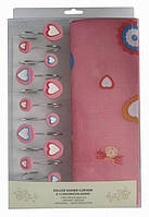 Шторки в ванную комнату 180х180,  Arya Pink Love