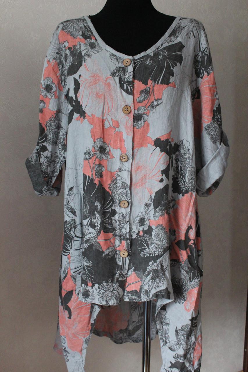 bad8f6bda0c Туника лен на пуговицах - Elenka - женская одежда оптом  юбки и сарафаны  женские
