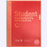 Записная книга коледж-блок А4 Brunnen 80 л. клетка карт. обл. спираль красный Premium 10-679 28 123