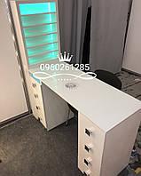 """Маникюрный стол """"Professional"""" белый с уф лампой, мощной вытяжкой и стеклом на столешнице"""