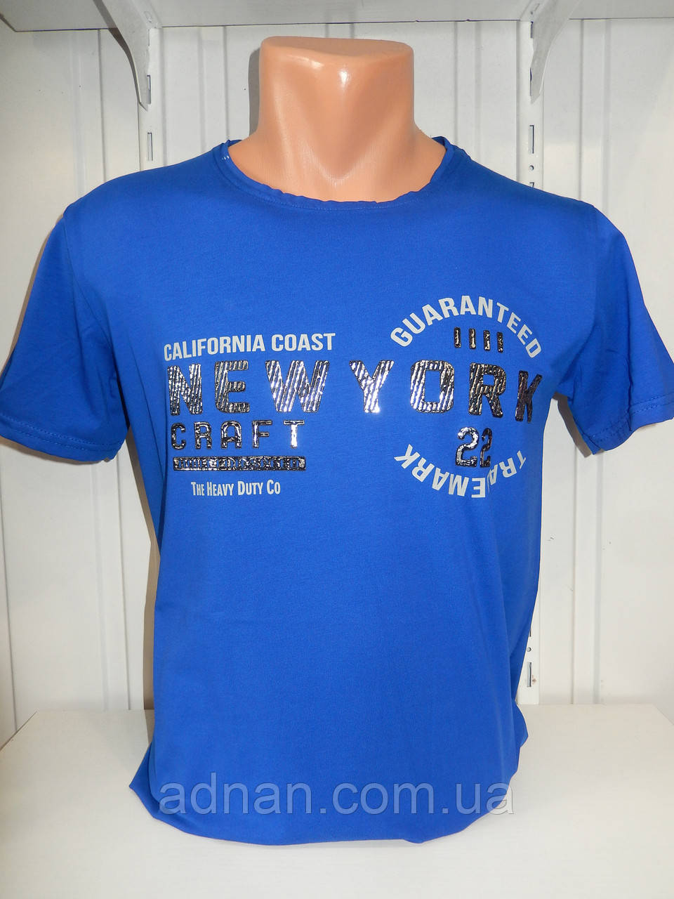 Футболка мужская RBS, накатка стрейч коттон New York 001 \ купить футболку мужскую оптом