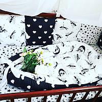 Бортики на 3 стороны + постельное+ кокон
