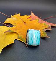 Кольцо с голубым агатом в серебре 16,75 р, фото 2