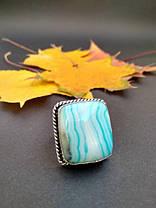 Кольцо с голубым агатом в серебре 16,75 р, фото 3