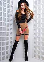 Замшевая юбка с вышивкой , фото 1