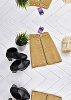 Мини-юбка из искусственной замши декорированная жемчугом , фото 1