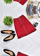 Мини-юбка из искусственной замши на молнии с кольцом