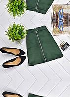 Мини-юбка из искусственной замши на молнии с кольцом, фото 1