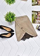 Мини-юбка на пуговицах из искусственной замши, фото 1