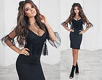 Платье двойка, трикотажное, стрейчевое, сетка с флоком, размер 42-46