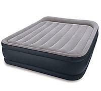 Надувная двуспальная кровать Intex 64136 (67738), серая, со встроенным насосом 220V