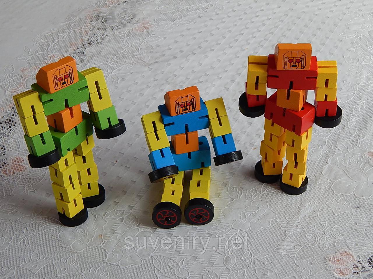 Детская деревянная игрушка робот большой