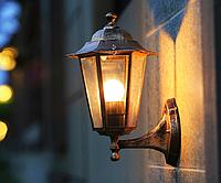 Садовый настенный фонарь Е27 PL6101 античное золото, металл