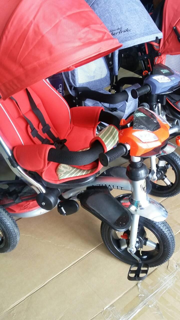 Трехколесный велосипед T - 350 AZIMUT  надувные колеса синий деним
