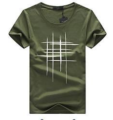 "Стильная мужская футболка ""Решётка"" хаки"