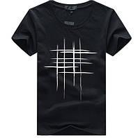"""Стильная мужская футболка """"Решётка"""" черного цвета"""