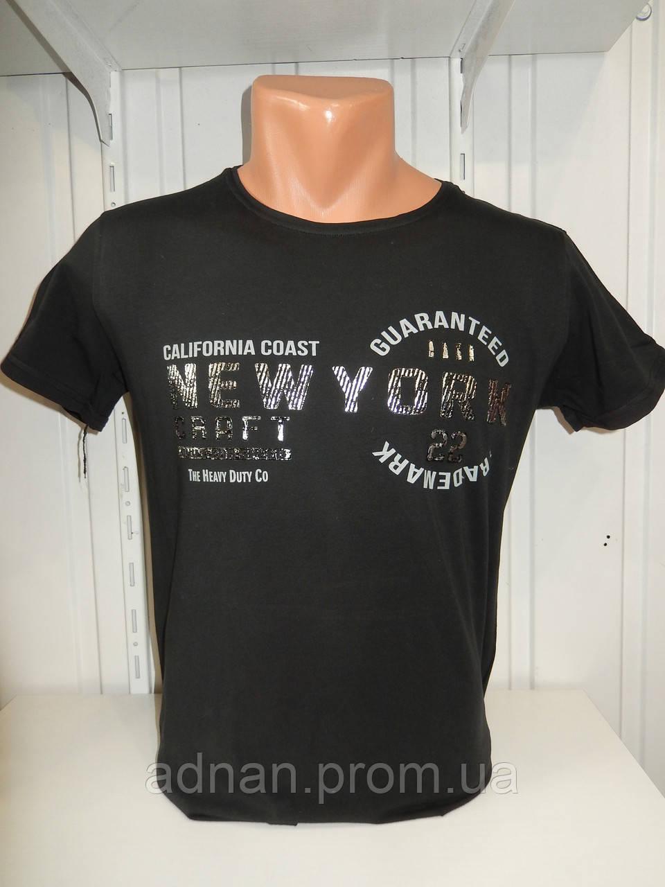 Футболка мужская RBS, накатка стрейч коттон New York 005 \ купить футболку мужскую оптом