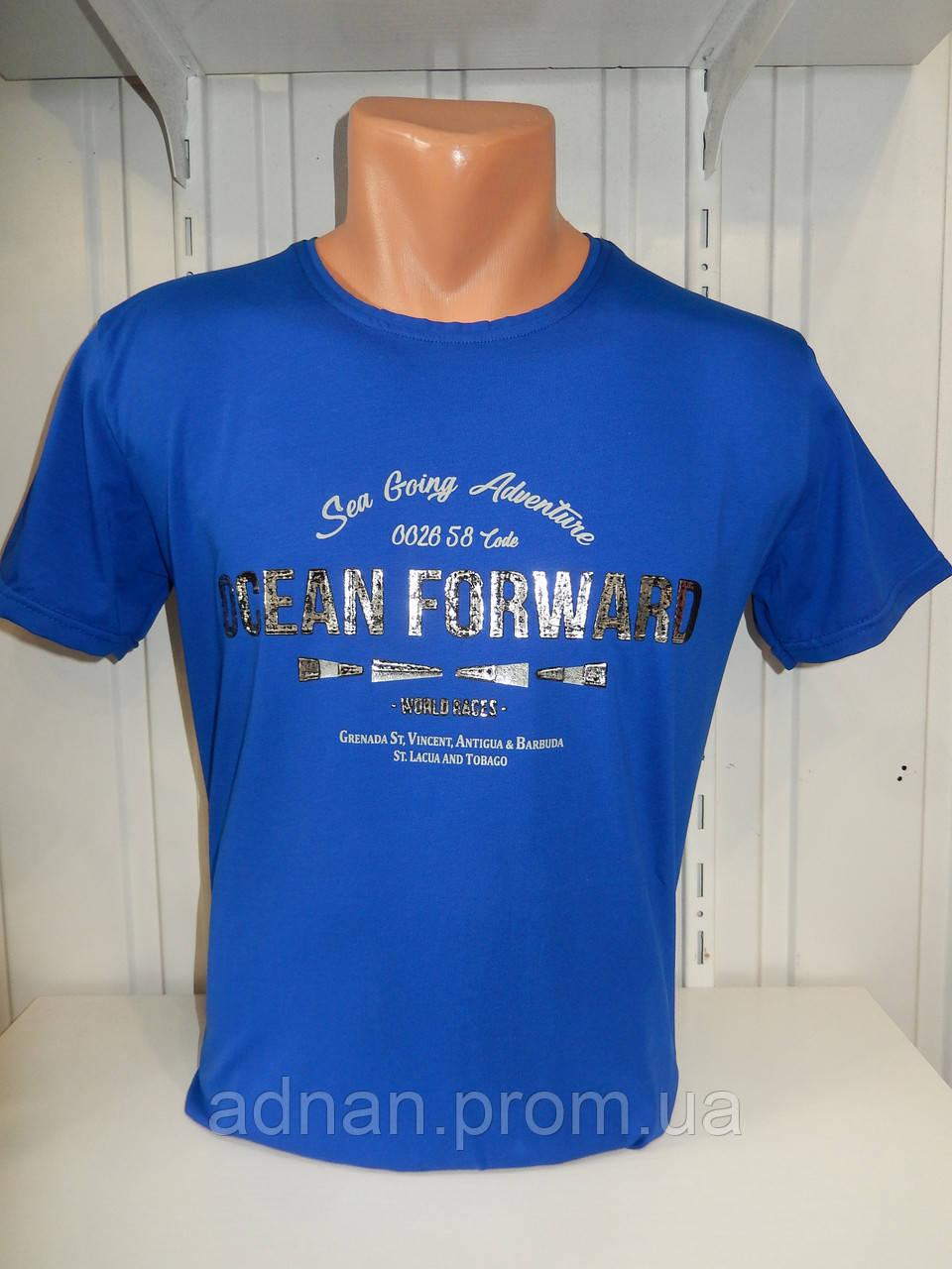 Футболка мужская RBS, накатка стрейч коттон OCEAN 001 \ купить футболку мужскую оптом