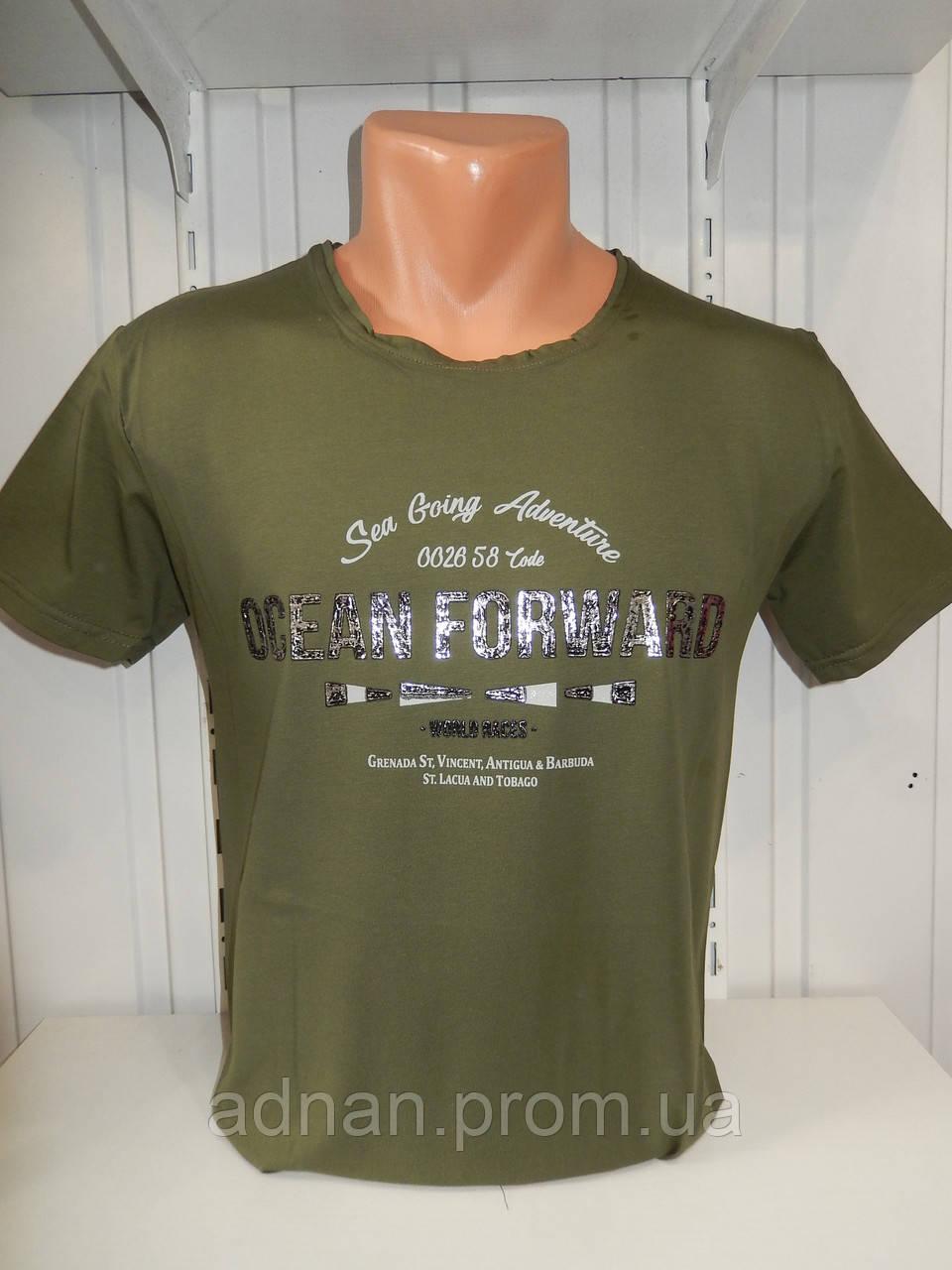 Футболка мужская RBS, накатка стрейч коттон OCEAN 006 \ купить футболку мужскую оптом