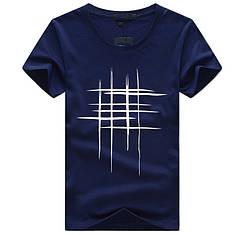 "Стильная мужская футболка ""Решётка"" цвета нави"