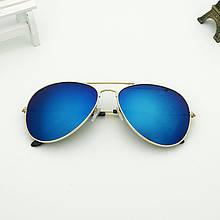 Очки солнцезащитные авиаторы 3025 с градиентом синие
