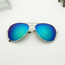 Очки солнцезащитные авиаторы 3025 с градиентом голубые