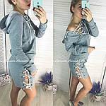 Стильный женский костюм двойка со шнуровкой, фото 2