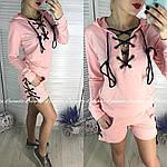 Стильный женский костюм двойка со шнуровкой, фото 5