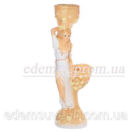 Кашпо цветное статуя Таня белое платье, фото 2
