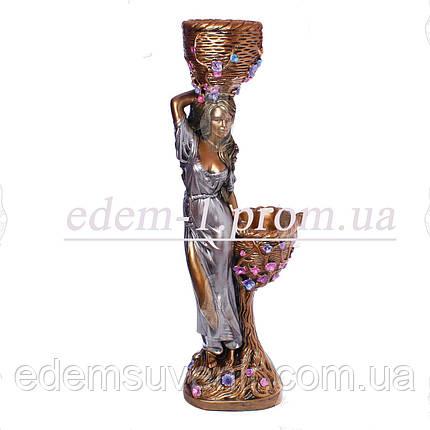 Кашпо бронза статуя Таня серебристое платье, фото 2