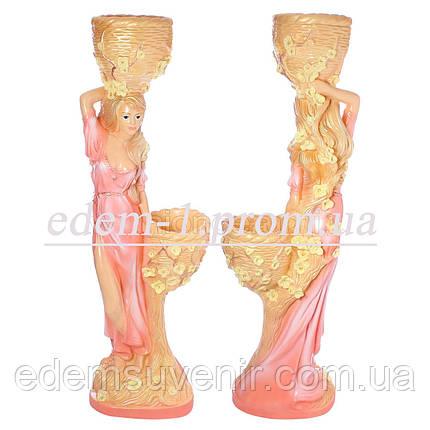 Кашпо цветное статуя Таня розовое платье, фото 2