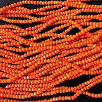 """Бусины """"рондель"""" хрустальные (стекло) на нитке 3,5мм, матовый двойной цвет градиент красный апельсин"""